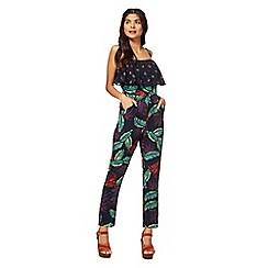 Red Herring - Navy tropical print jumpsuit