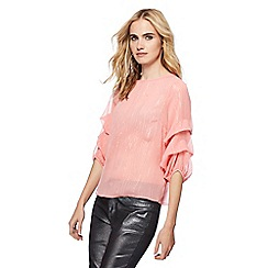 Red Herring - Pink shimmer stripe puff sleeves blouse