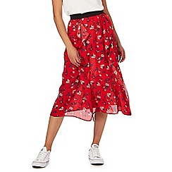 Red Herring - Red floral print ruffle skirt