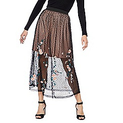Red Herring - Black embroidered mesh maxi skirt