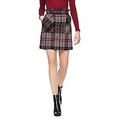 Red Herring - Wine red large check print skirt