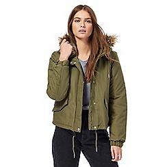 Noisy may - Khaki faux fur hood trim jacket