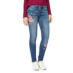 Red Herring - Blue floral embroidered skinny jeans