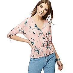 Red Herring - Light pink floral print ruched top