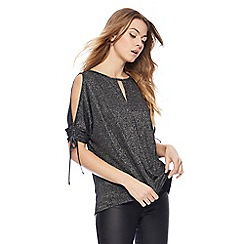 Red Herring - Black sparkle ruched top