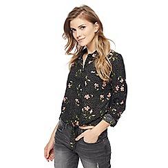 Red Herring - Black floral print knot hem shirt