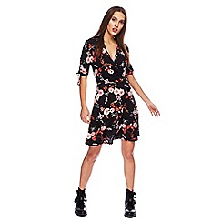 Red Herring - Black floral print V-neck tea dress