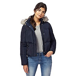Red Herring - Navy hooded short padded coat