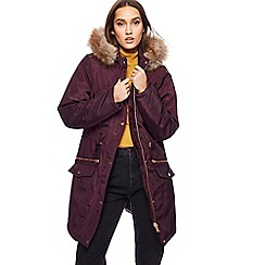 Red Herring - Purple faux fur trim parka