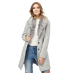 Red Herring - Grey faux fur collar twill coat