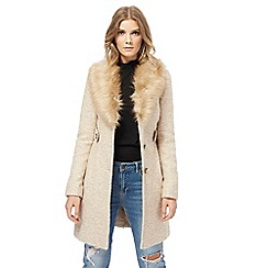 Red Herring - Camel faux fur collar twill coat