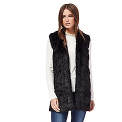Red Herring - Black wool blend faux fur gilet