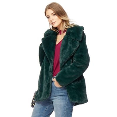 Red Herring Green faux fur jacket | Debenhams