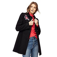 Red Herring - Black floral embroidered dolly coat