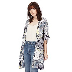 Red Herring - Multi-coloured paisley print longline kimono