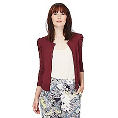 Red Herring - Dark red ruffled cardigan
