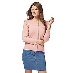 Red Herring - Pale pink ruffle shoulder cardigan