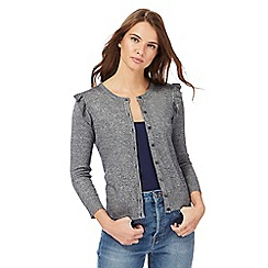 Red Herring - Dark grey ruffle shoulder cardigan