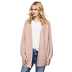 Red Herring - Pink chunky knit balloon sleeves cardigan