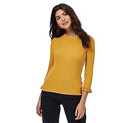 Red Herring - Mustard ribbed ruffle sleeves jumper