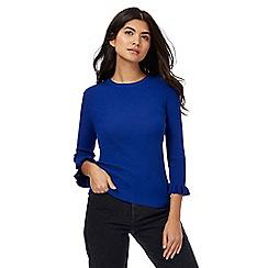 Red Herring - Blue ribbed ruffle sleeves jumper