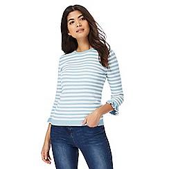 Red Herring - Blue and white stripe ruffle sleeves jumper