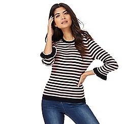 Red Herring - Black and pink stripe ruffle sleeves jumper