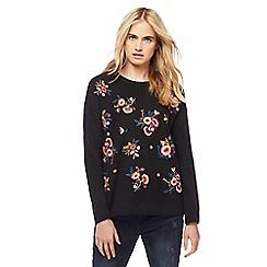 Red Herring - Black floral embroidered jumper