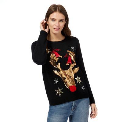Red Herring Black Sequinned Reindeer Christmas Jumper Debenhams
