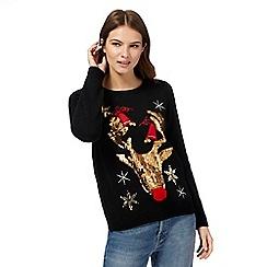 Red Herring - Black sequinned reindeer Christmas jumper