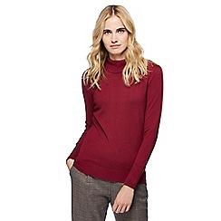 Red Herring - Wine red roll neck frill shoulder jumper
