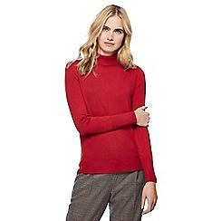 Red Herring - Red roll neck frill shoulder jumper