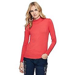 Red Herring - Peach roll neck frill shoulder jumper