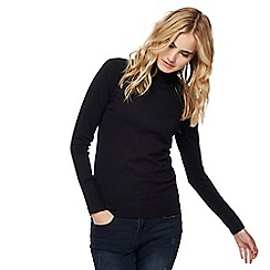 Red Herring - Black roll neck frill shoulder jumper