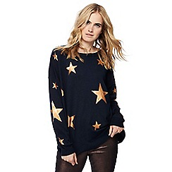 Red Herring - Navy metallic star print jumper