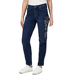 Red Herring - Blue floral embroidered girlfriend jeans