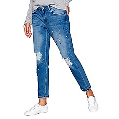 Red Herring - Blue pearl embroidered girlfriend jeans