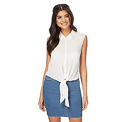 Noisy may - Ivory tie front top