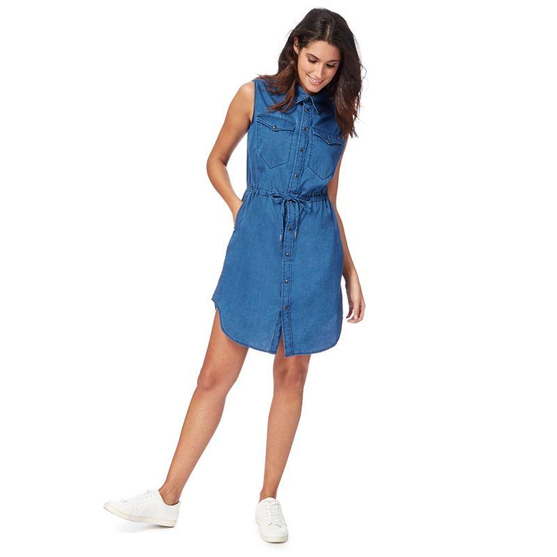 G-Star Dark blue denim knee length shirt dress