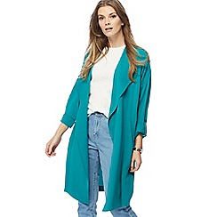 Red Herring - Bright turquoise waterfall manteau jacket