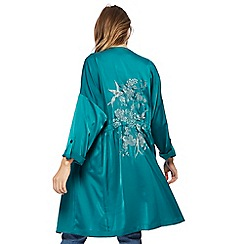 Red Herring - Bright turquoise satin manteau coat