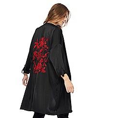 Red Herring - Black satin manteau coat