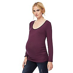 Red Herring Maternity - Dark purple scoop neck maternity top