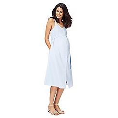 Red Herring Maternity - Light blue gingham V-neck midi maternity shift dress