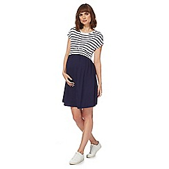 Red Herring Maternity - Navy and white maternity skater dress