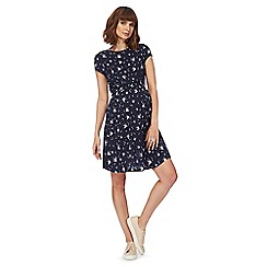 Red Herring Maternity - Navy swallow print maternity skater dress