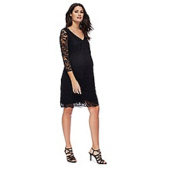 Red Herring Maternity - Black lace V-neck knee length maternity dress