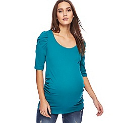 Red Herring Maternity - Turquoise ruched sleeves maternity top