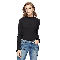Red Herring - Black frilled trim roll neck top