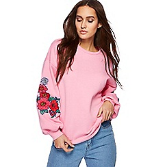 Red Herring - Pink embroidered balloon sleeves jumper